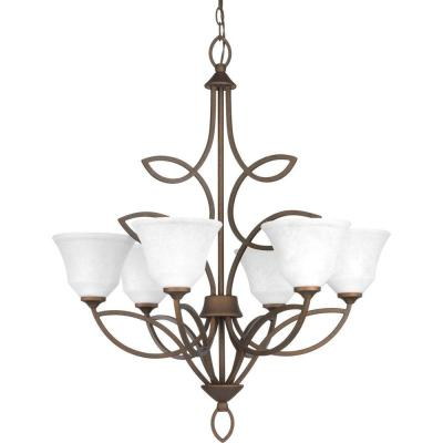 Monogram Collection 6-Light Roasted Java Chandelier with Watermark Glass Shade