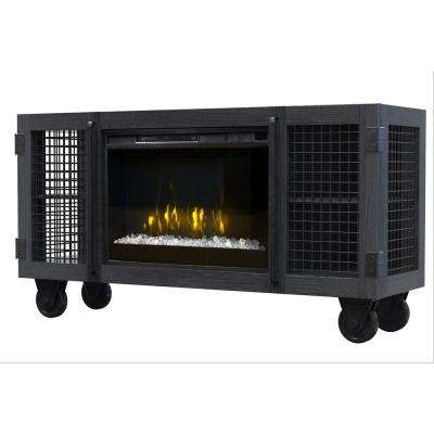 Wire Mesh Storage Electric Fireplace In Charcoal Gray
