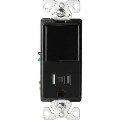 15 Amp Tamper Resistant Decorator Combination Single-Pole Switch and Receptacle in Black
