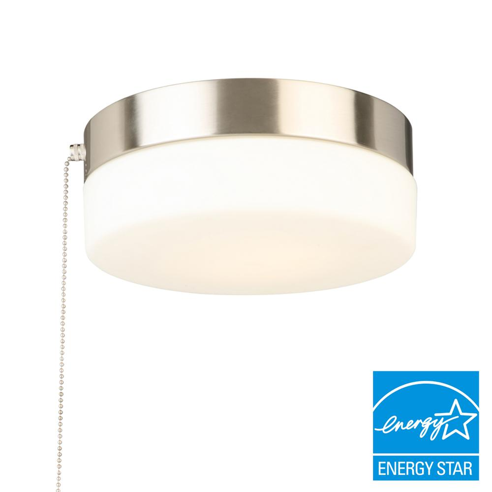Hampton Bay 8 in. 60-Watt Equivalent Brushed Nickel Integrated LED Drum Flushmount with Pull Chain and Glass shade