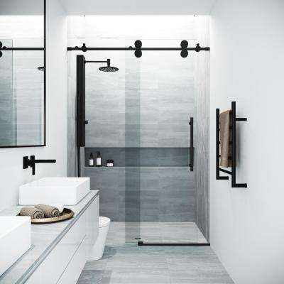 Elan 44 to 48 in. x 74 in. Frameless Sliding Shower Door in Matte Black with Clear Glass and Handle