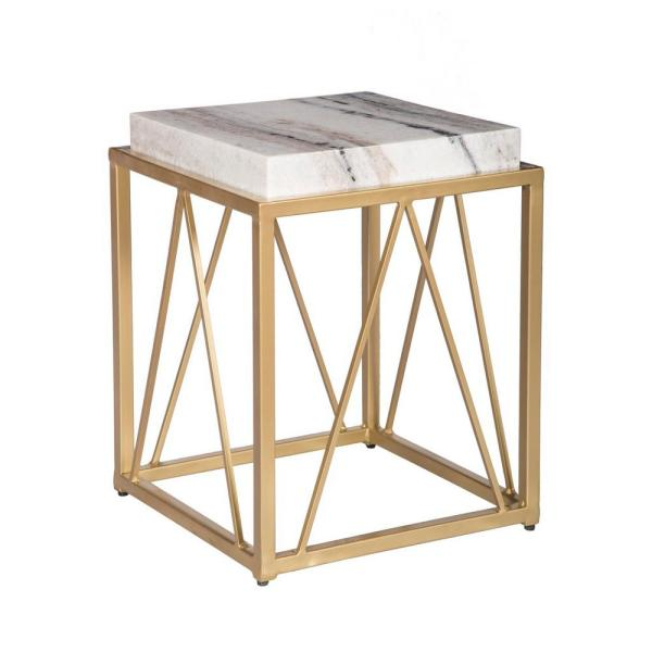 Coast to Coast White and Gold Accent Table 15242