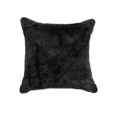 Nelson Sheepskin Black Solid 18 in. x 18 in. Throw Pillow