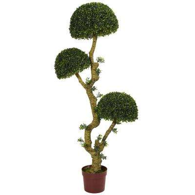 5 in. UV Resistant Indoor/Outdoor Triple Boxwood Artificial Tree