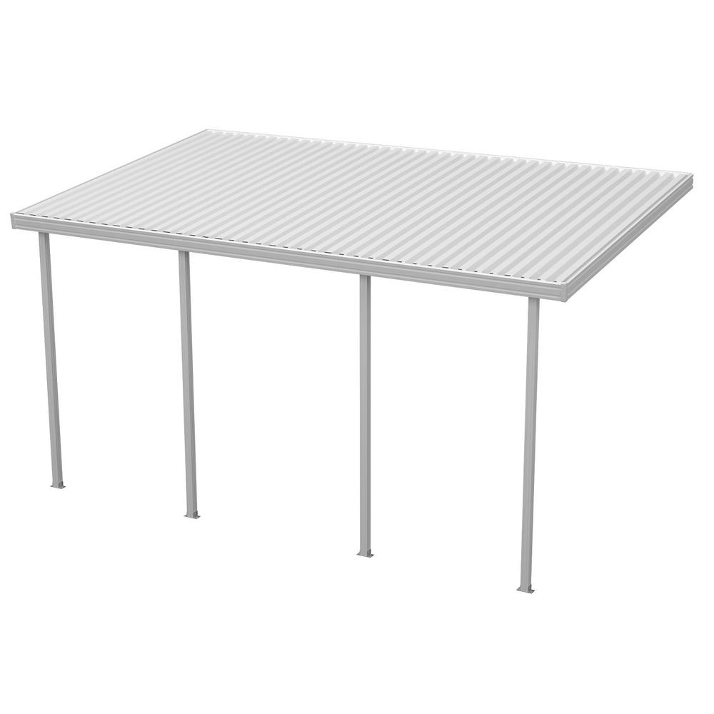 Four Seasons Building Products 20 ft. x 12 ft. White Aluminum Attached Solid Patio Cover with 4 Posts (10 lbs. Live Load)