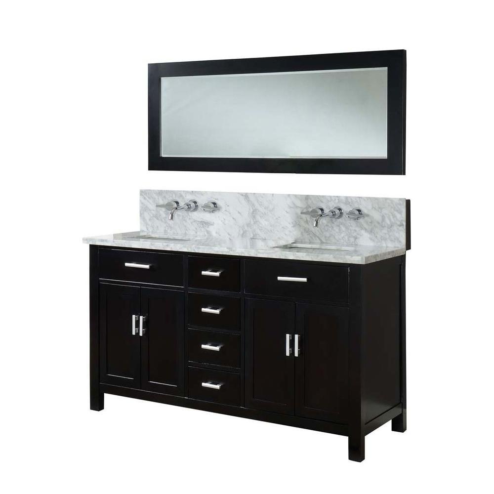 Double Vanity In Ebony With Marble Top Carrara