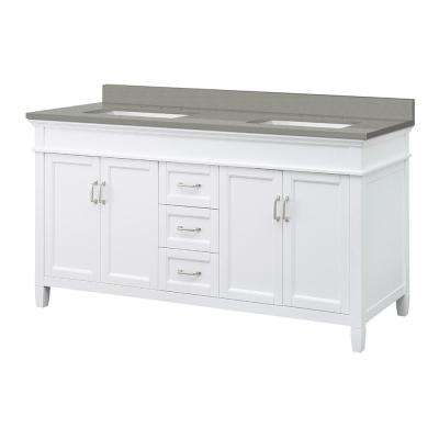 Ashburn 61 in. W x 22 in. D Vanity Cabinet in White with Engineered Quartz Vanity Top in Sterling Grey with White Basins