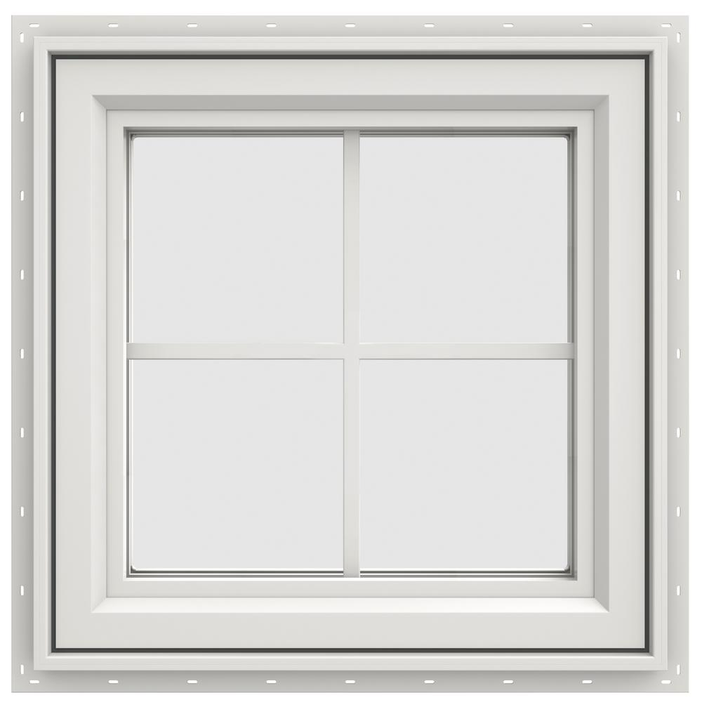 JELD-WEN 23.5 in. x 23.5 in. V-4500 Series Left-Hand Casement Vinyl Window with Grids - White