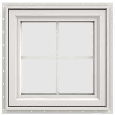 23.5 in. x 23.5 in. V-4500 Series Right-Hand Casement Vinyl Window with Grids - White