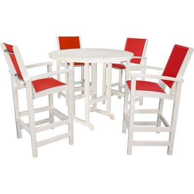 Nassau 5-Piece White All-Weather Bar Height Outdoor Dining Set with Salsa Red Seats