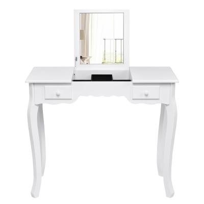 2-Piece White Vanity Dressing Table Set Mirrored Bathroom Furniture with Stool Table Desk