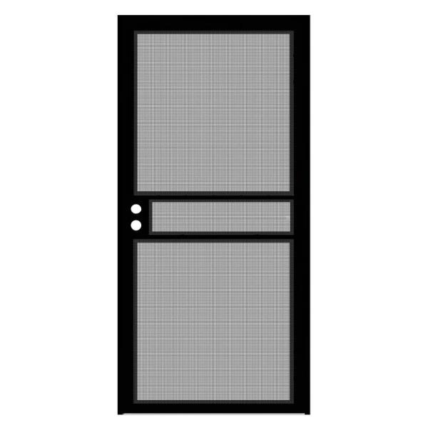 36 in. x 80 in. Black Surface Mount ClearGuard Security Door with Meshtec Screen