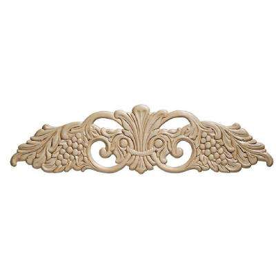 14022PK 9/32 in. x 20-3/8 in. x 5-3/8 in. Wood Birch Grape Center Ornament Moulding