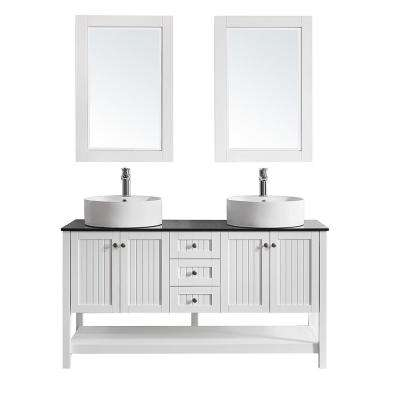 Modena 60 in. W x 20 in. D Vanity in White with Glass Vanity Top in Black with White Basin and Mirror