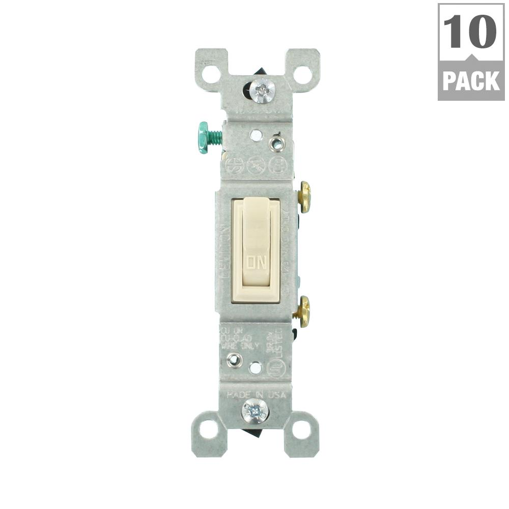 Leviton 20 Amp 4 Way Toggle Switch Light Almond R66 0csb4 2ts The Of 2 Two 4ways With 1 One 3way Located At Each End 15 Single Pole 10 Pack