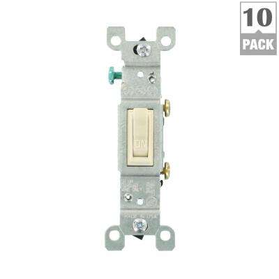 15 Amp Single-Pole Toggle Switch, Light Almond (10-Pack)
