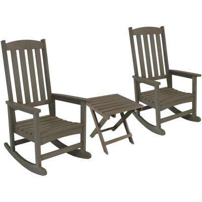 Gray All-Weather Traditional Plastic Patio Rocking Chair with Side Table (2-Set)