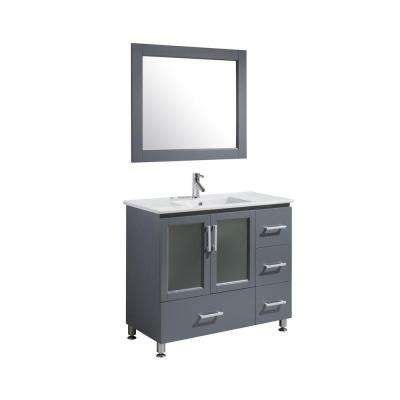 Stanton 40 in. W x 18 in. D x 35 in. H Vanity and Mirror in Grey with Porcelain Vanity Top and Basin in White