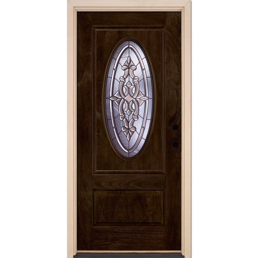 Feather River Doors 37.5 in. x 81.625 in. Silverdale Patina 3/4 Oval Lite Stained Chestnut Mahogany Left-Hand Fiberglass Prehung Front Door
