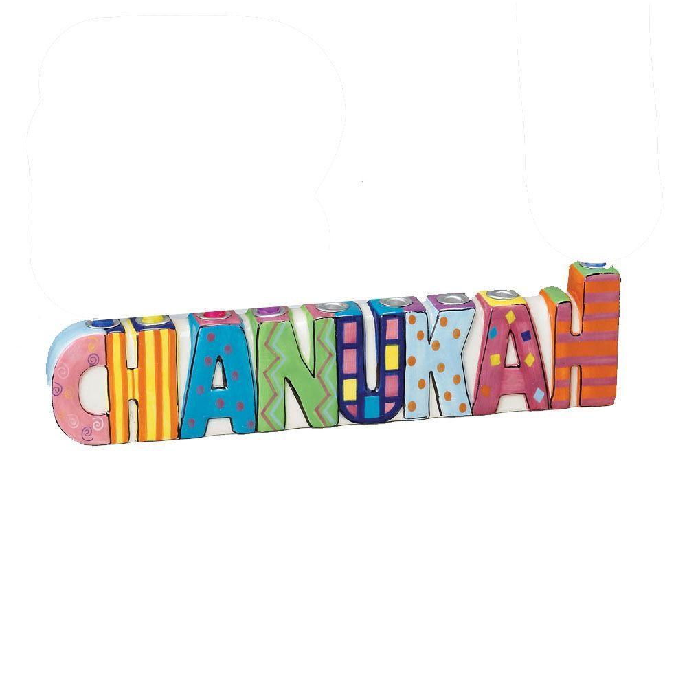 null 11 in. x 2.75 in. Ceramic Chanukah Menorah