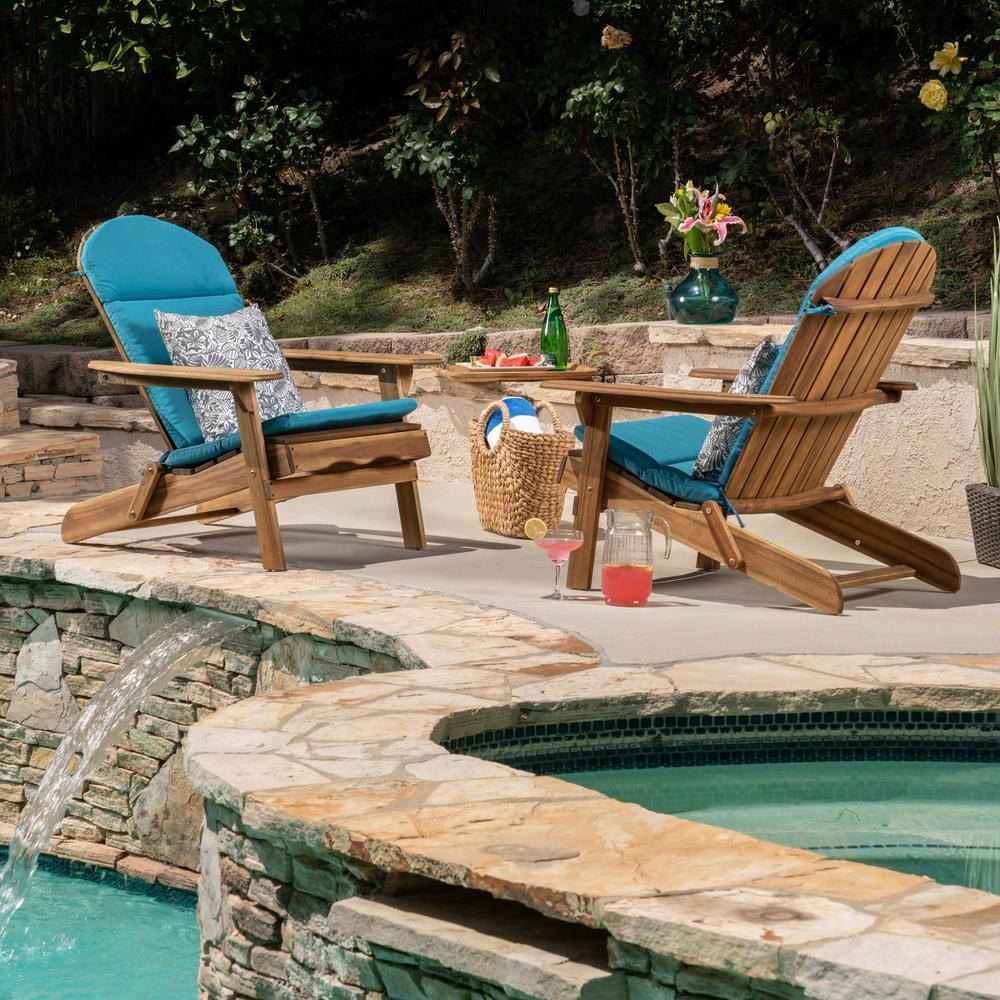 Malibu Natural Brown Folding Wood Adirondack Chairs with Dark Teal Cushions (2-Pack)