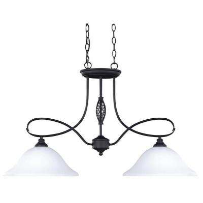 Twenty One 2-Light Oil Rubbed Bronze Pendant with Flat Opal Glass Shades
