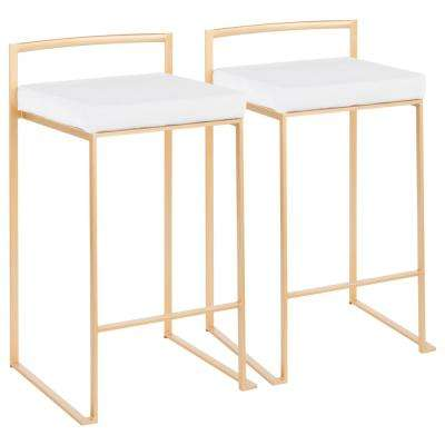 Fuji 26 in. Gold Stackable Counter Stool with White Velvet Cushion (Set of 2)