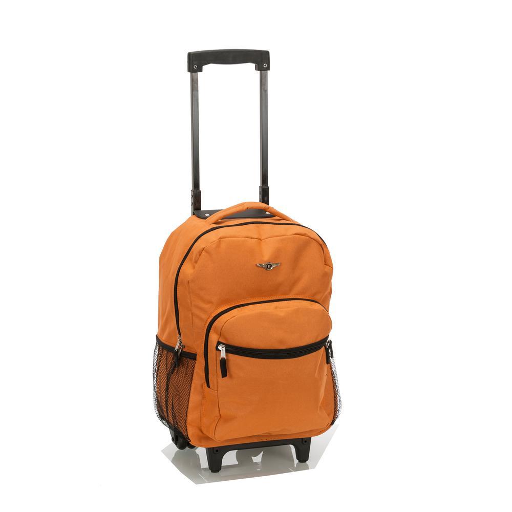 Rockland Roadster 17 in. Rolling Backpack, Orange