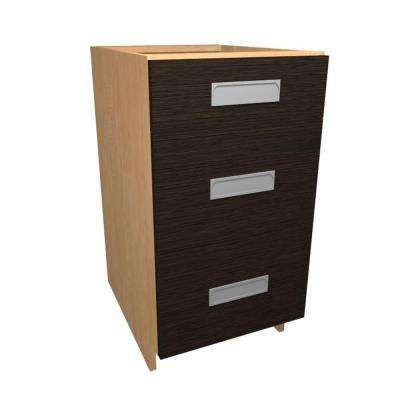 Genoa Ready to Assemble 12 x 34.5 x 24 in. Base Drawer Cabinet with 3 Soft Close Drawer in Twilight
