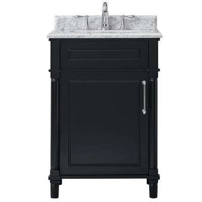 Aberdeen 24 in. W x 22 in. D Vanity in Black with Carrara Marble Top with White Basin