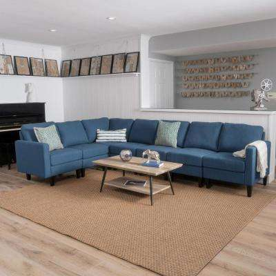 7-Piece Dark Blue Fabric Sectional