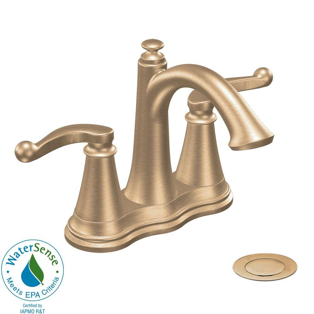MOEN Savvy 4 in. 2-Handle High-Arc Bathroom Faucet in Brushed Bronze-DISCONTINUED