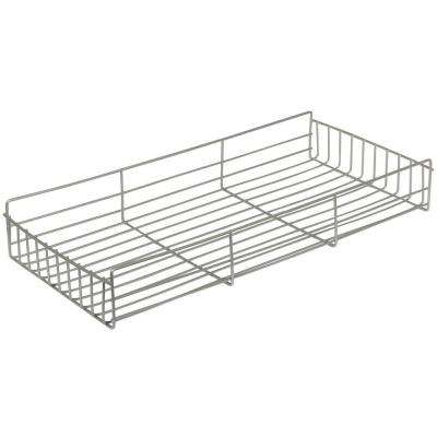 3.25 in. x 10 in. x 21.5 in. Frosted Nickel Side-Mount Pantry Roll Out Basket