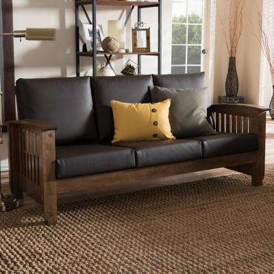 Charlotte Mid-Century Dark Brown Faux Leather Upholstered Sofa