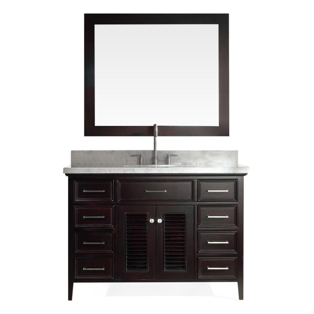 Ariel Kensington 49 in. Bath Vanity in Espresso with Marble Vanity Top in Carrara White with White Basin and Mirror