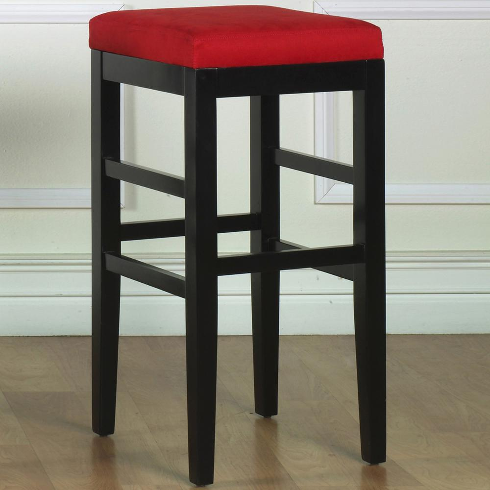 Armen Living Sonata 30 In. Red Microfiber And Black Wood Finish Backless  Barstool