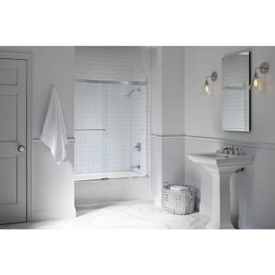 Revel 59-5/8 in. x 55-1/2 in. Frameless Sliding Tub Door in Bright Polished Silver with Handle