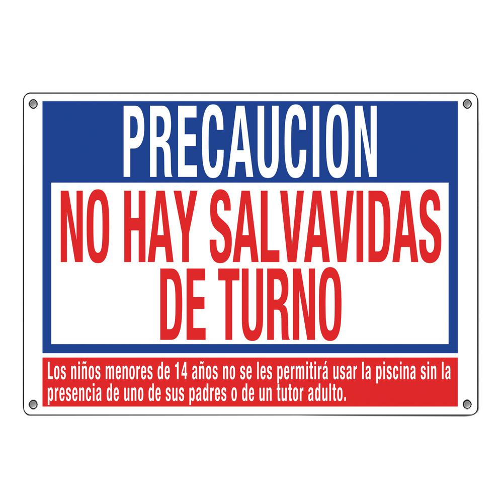 Residential or Commercial Swimming Pool Signs, Spanish Language No Lifeguard