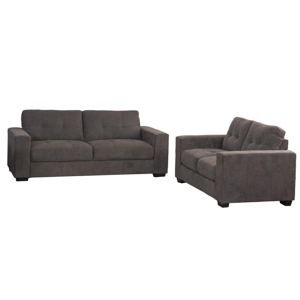 CorLiving Club 2-Piece Tufted Grey Chenille Fabric Sofa Set-LZY-131 ...