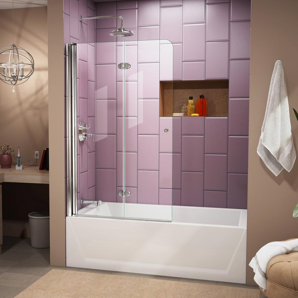 DreamLine Aqua Fold 36 in. x 58 in. Frameless Hinged Tub Door in Chrome