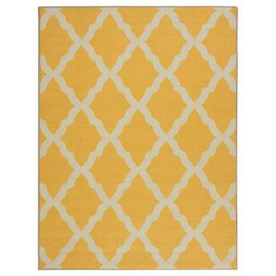 Pink Collection Contemporary Moroccan Trellis Design Yellow 3 ft. x 4 ft. Kids Area Rug
