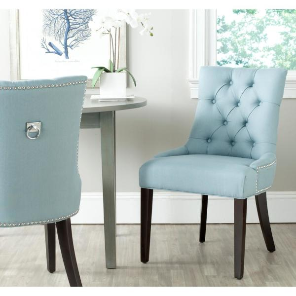 Safavieh Harlow Light Blue/Espresso Cotton/Linen Side Chair (Set of 2)