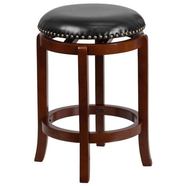 Flash Furniture 25 in. Black and Light Cherry Swivel Cushioned Bar