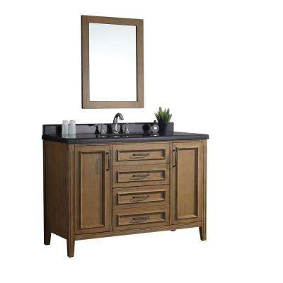 Daniel 48 in. x 22 in. D Vanity in Nutmeg with Granite Vanity Top in Black with White Basin