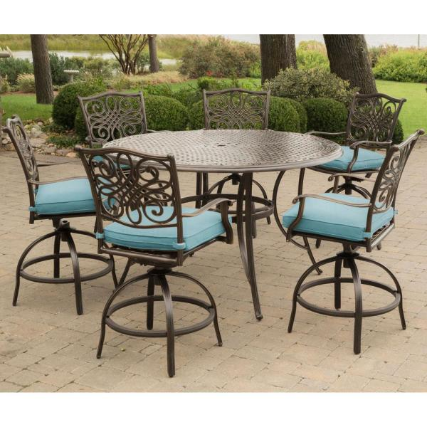 Hanover Traditions 7 Piece Aluminum Outdoor High Dining Set With Round Cast Top Table And Swivel Chairs With Blue Cushions Traddn7pcbr Blu The Home Depot