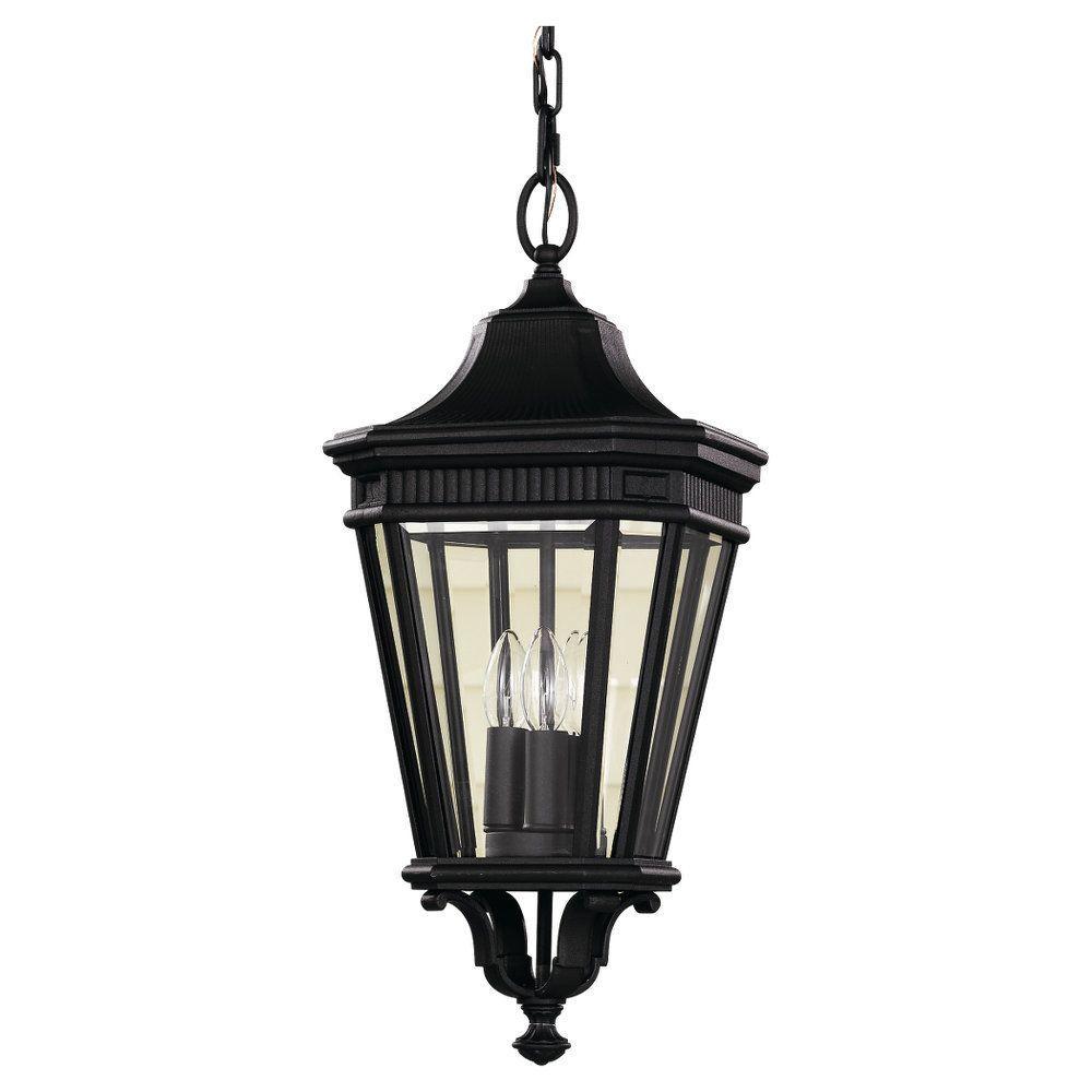 Outdoor Pendant Porch Light Uk: Feiss Cotswold Lane 3-Light Black Outdoor Hanging Pendant