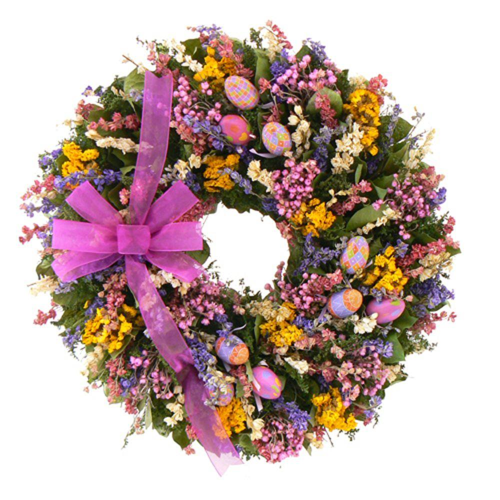 The Christmas Tree Company Easter Celebration 22 in. Dried Floral Wreath-DISCONTINUED