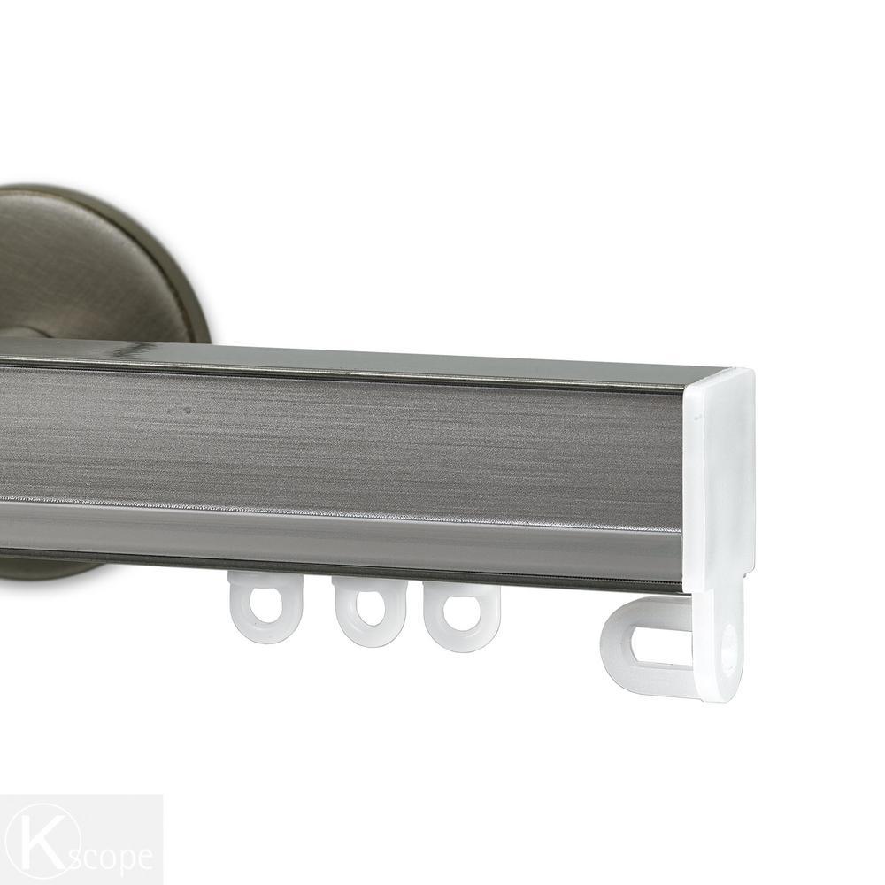 Nexgen 48 in. Non-Adjustable Single Traverse Window Curtain Rod Set in Antique Silver with Bechamel Applique