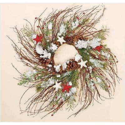 24 in. Snowy Twig Wreath with Stars