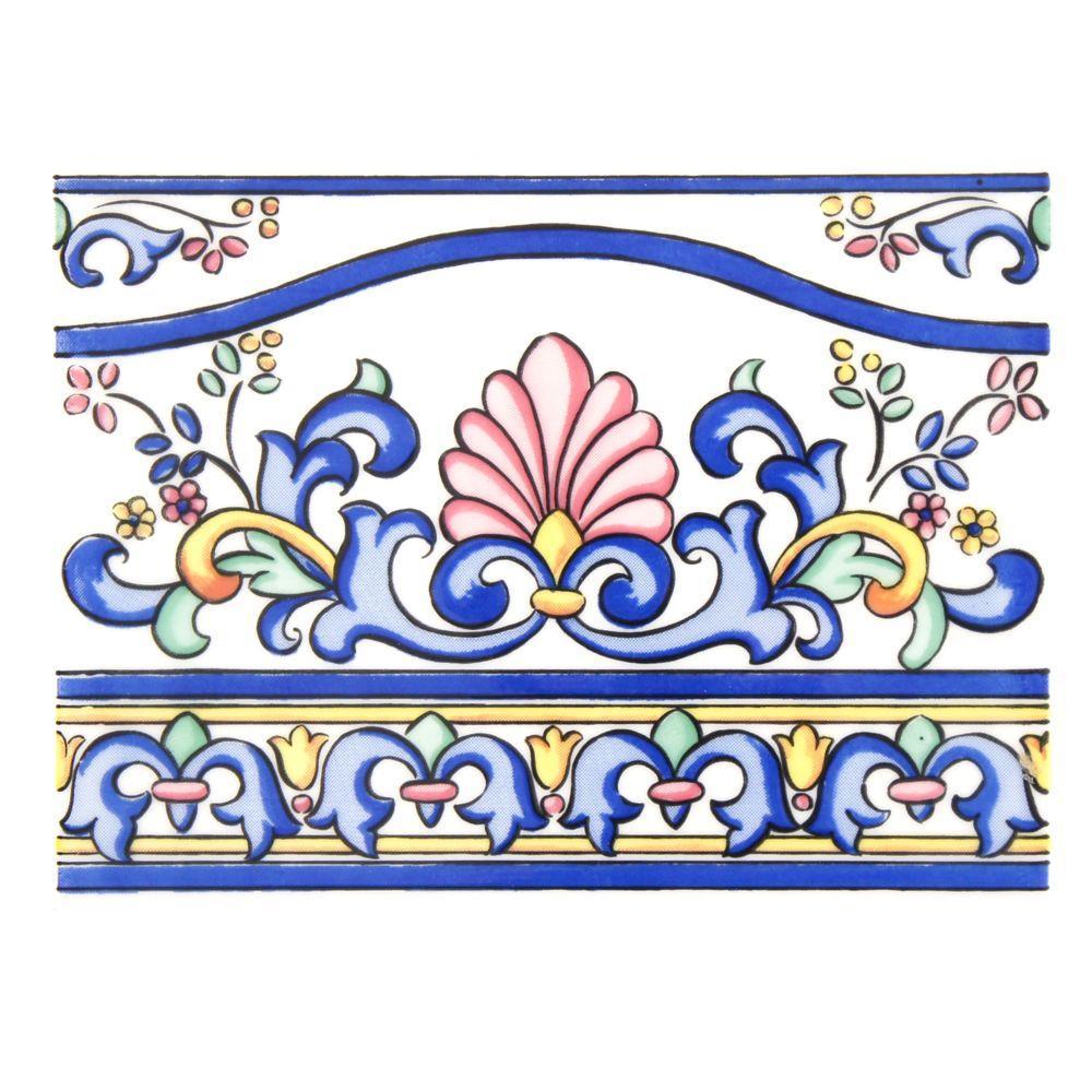 Merola Tile Galan Iris Cenefa 6 in. x 8 in. Ceramic Decor Wall Tile